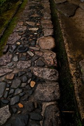 a rough and relaxed stone garden path of large and smaller and darker stones in the center of the path