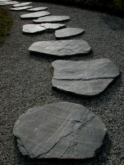 grey gravel and large rough stones for a path make up a cool and bold pathway with a zen feel