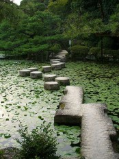 a zen garden path made of sleek and circle stones right in the pond looks spectacular and cool