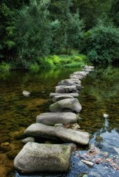 a large stone garden path created right in the water feature – even if you don't use it, it's very catchy