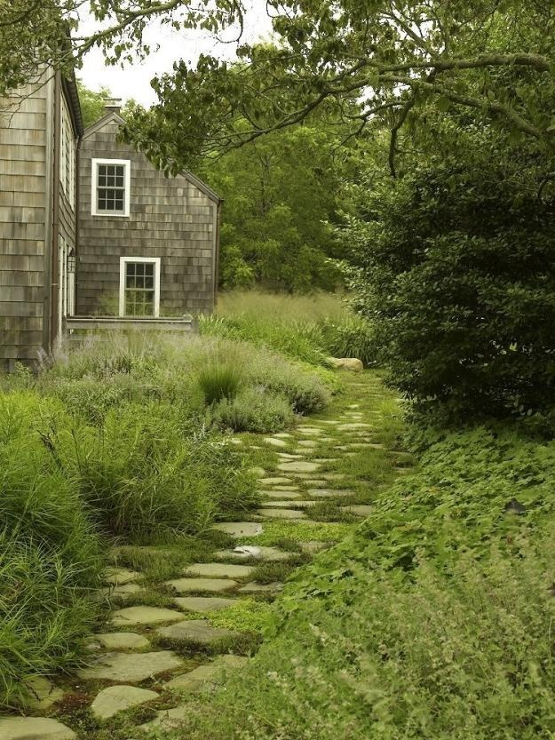 a nautral rough stone gardne pathway with greenery growing in between the rocks looks relaxing and calming and matches the greenery