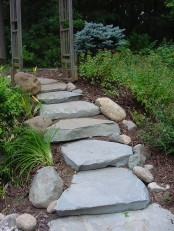 a rough path composed or large scale rough stones with smaller rocks that line up this path