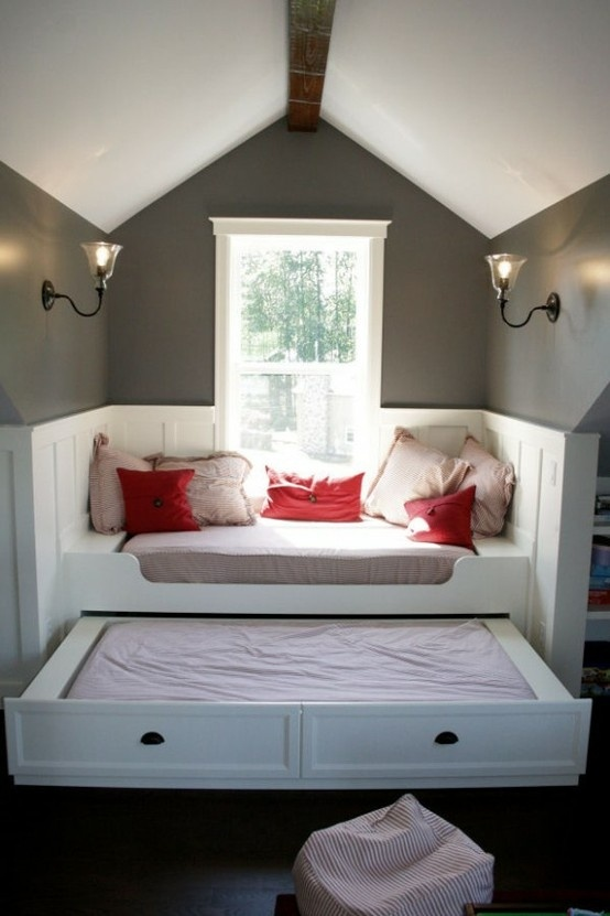 A daybed that transforms into a night bed is a great solution for awkward niches.