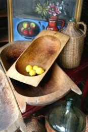 vintage dough bowl display with various fruits can be a nice kitchen decoration