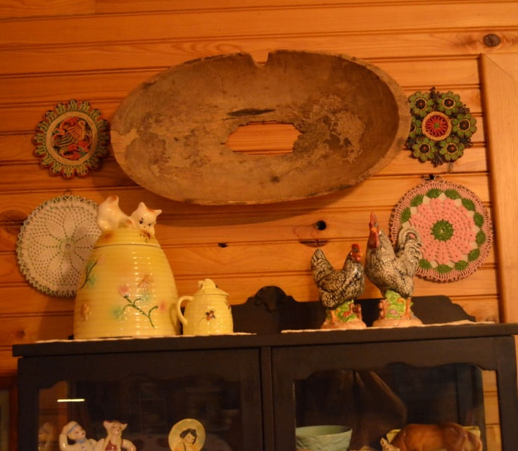 a bottomless dough bowl placed on the wall as a decoration