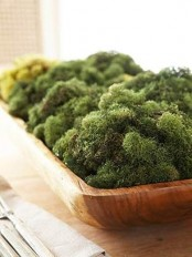 a simple rustic centerpiece with a touch of freshness – a dough bowl filled with moss