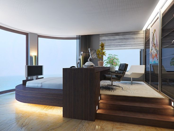 the raised platform brings decorative value here, adding an edge to the space and bringing light