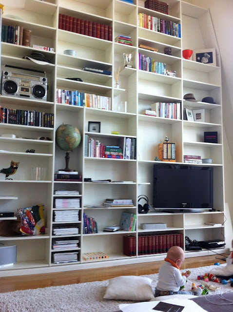Building A Really Tall Shelving System Out Of Billy Bookcases Is Possible