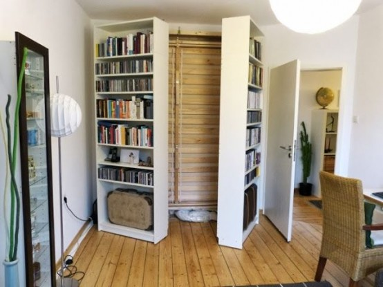 You can hide a murphy bed behind two bookcases.