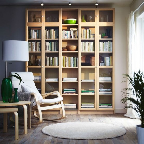 Bookcase Design Ideas one more example of a great billy floor to ceiling design Birch Veneer Could Look Great In Your Interior If You Have Some More Light Wood Furniture