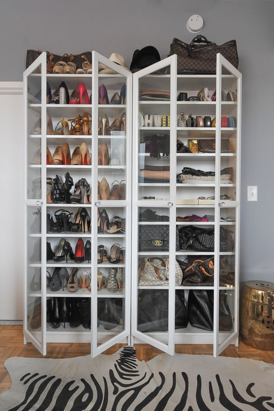 Add glass doors and this plain bookcase would become a nice display stand. For example you can display your shoes collection in it. BTW, there are plenty of other cool IKEA shoe storage hacks out there.