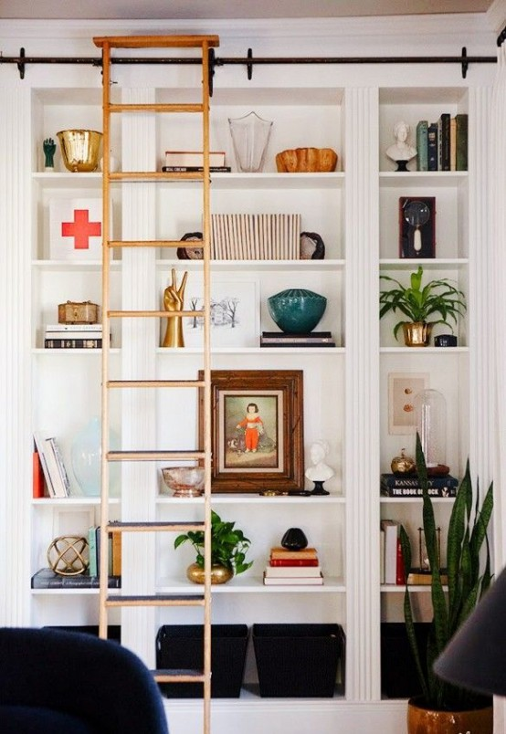 A Rolling Ladder Is What You Need If Your Bookcases Are Tall Besides It Spice