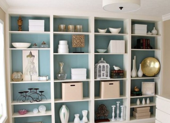painting the bookcases back panel might be a great way to add a color splash - Bookcase Design Ideas