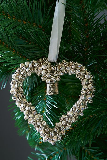 a heart ornament of silver bells is a very cool and cute decor idea to rock and you can make as many as you want