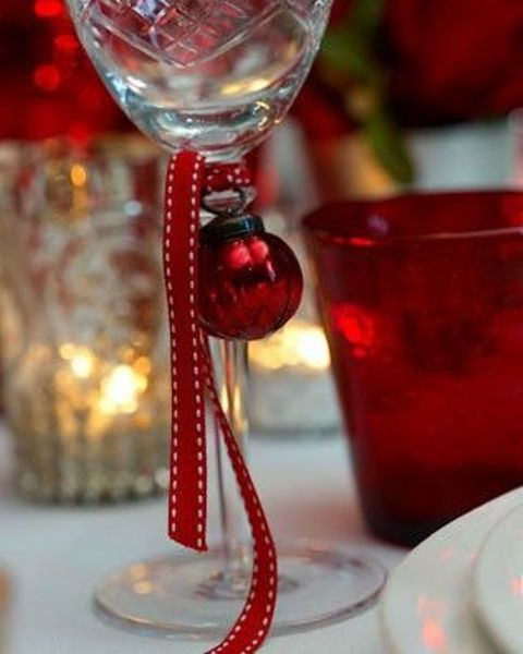 mark glasses with bells and ornaments and your guests won't mix them up