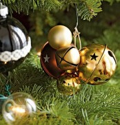 gold and burgundy Christmas ornaments and bells are amazing for holiday decor – use them as ornaments or just hangings