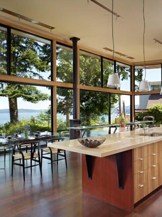 Open Plan Kitchen Dining Room With Island