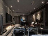 a moody contemporary living room with upholstered furniture, lights, a faux fireplace and artworks