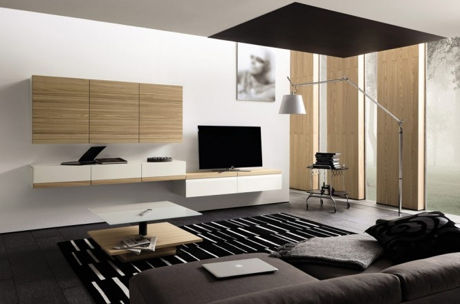a minimalist living room with a dark sofa, a plywood storage unit, a coffee table and a wall lamp