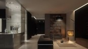 a minimalist dark living room with a hearth, stylish upholstered furniture and a floor lamp
