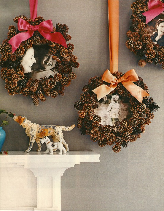 whp said wreaths are only for a front door hang a bunch of them on - Homemade Pine Cone Christmas Decorations