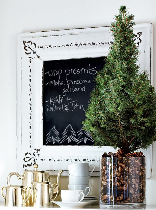 Fill a large vase with super tiny pinecones and put a tabletop Christmas tree in it. You've got yourself a gorgeous looking piece of decor.