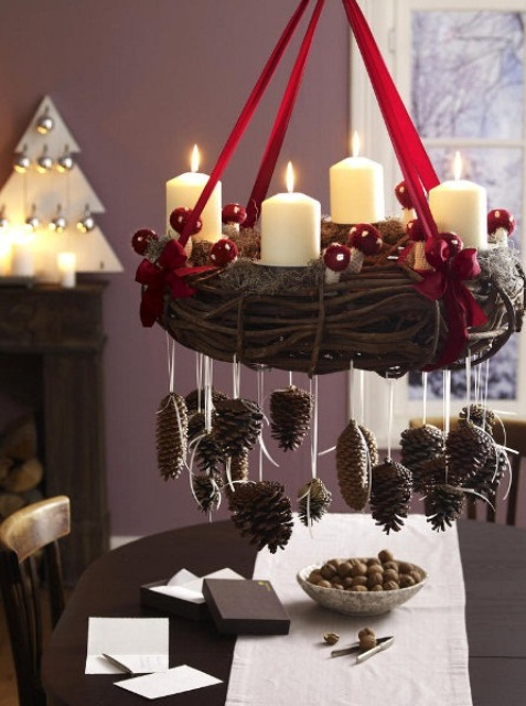 diy christmas chandelier is a great addition to your dining rooms holiday decor - Homemade Pine Cone Christmas Decorations