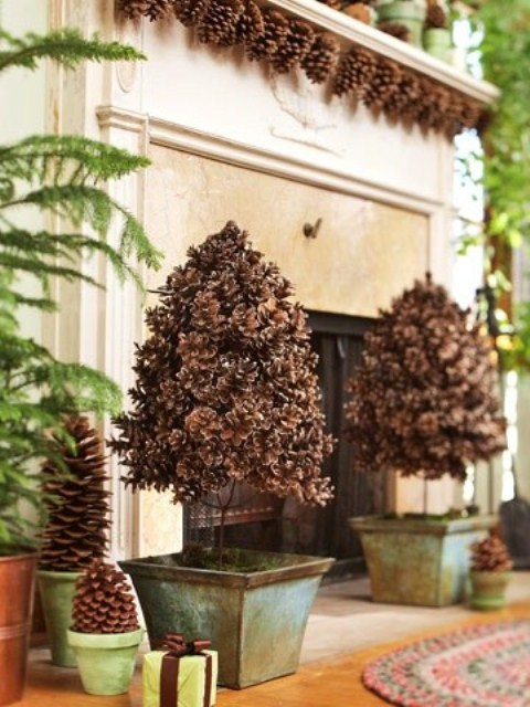 to make a pinecone topiary cover a large styrofoam ball with a garbage bag - Decorating Large Pine Cones For Christmas