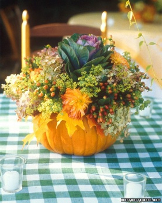 Take a more natural approach with your pumpkin and turn it into a vase.