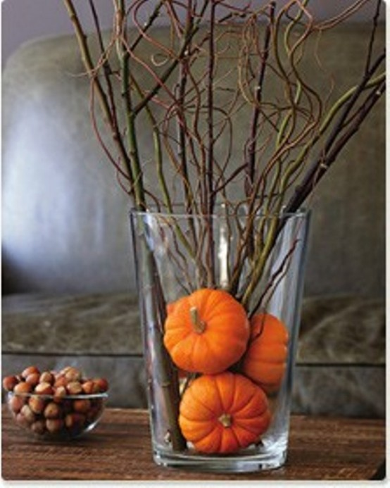 Simply put several very small pumpkins in a vase and add some twigs. Your got yourself a beautiful Autumn arrangement.