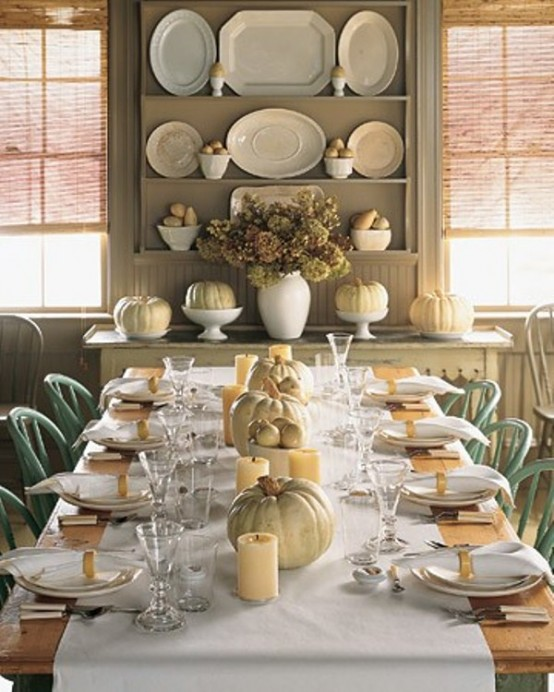 pair all white pumpkins with white tableware for a sophisticated look - Halloween Table Decoration
