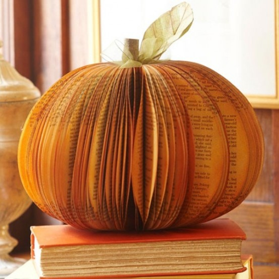 For a DIY pumpkin centerpiece you can make a faux one using vintage book pages.