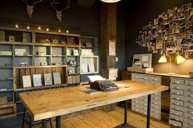 42 awesome rustic home office designs digsdigs - Home office design ideas pictures ...