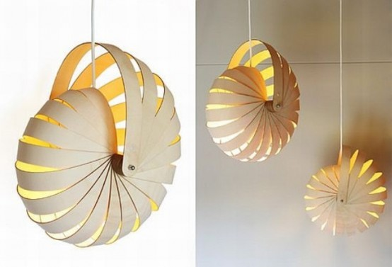 a plywood pendant lamp inspired by scallops is a cool and bold modern idea for a modern seaside space