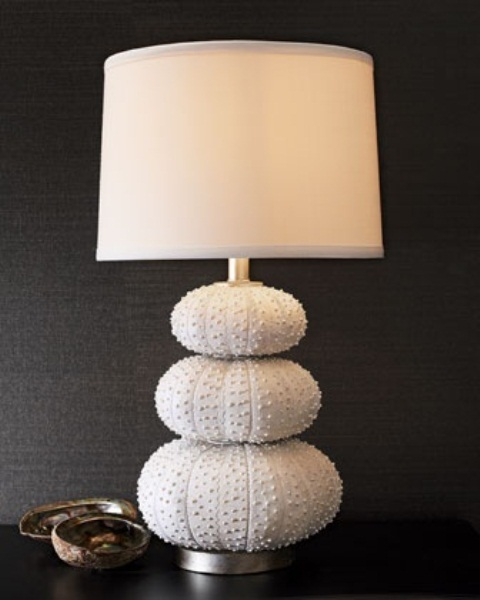 a cool seaside lamp with a base made of urchins and a plain lampshade is cool and stylish, will fit a modern space
