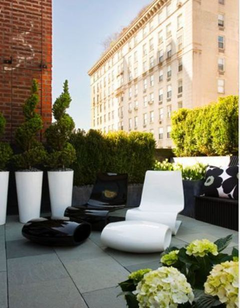 a minimalist monochromatic terrace with potted greenery and flowers, a whimsical black and white chair, large white planters