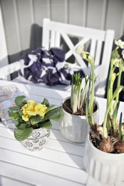 spring bulbs in pots and fresh blooms in a pot will make any space feel more like spring