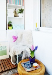 bring a touch of spring to your balcony with bright spring bulbs and some accessories and even teaware