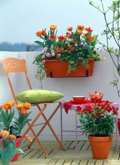 bright potted blooms and colorful furniture will turn your balcony in really a psring space