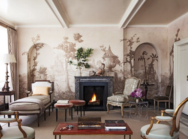 a vintage tropical wall mural in a neutral color scheme matches the refined space and gives it a quirky touch