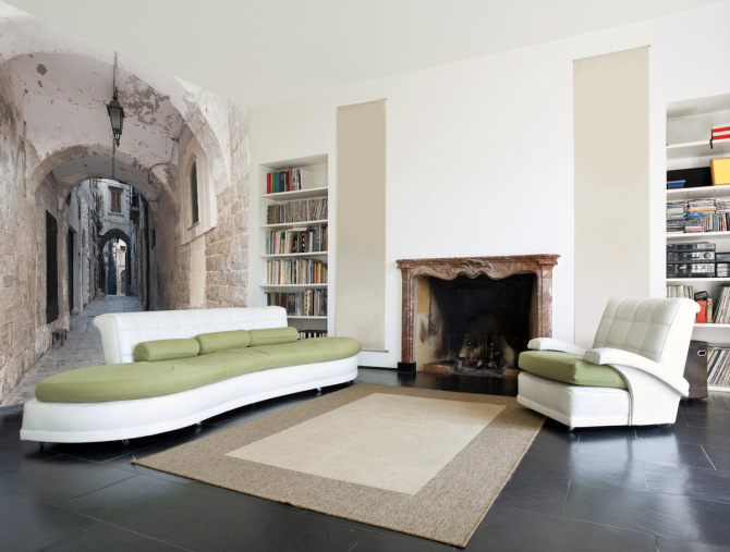a contemporary refined living room with an antique city wall mural that visually expands the space making it eye catching