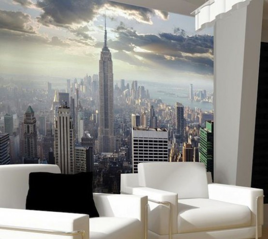a contemporary living room made bolder with a New York wall mural that makes it eye-catching and outstanding