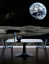 a contemporary dining space with a bold and moody space wall mural that makes you feel like you are dining out there in the space