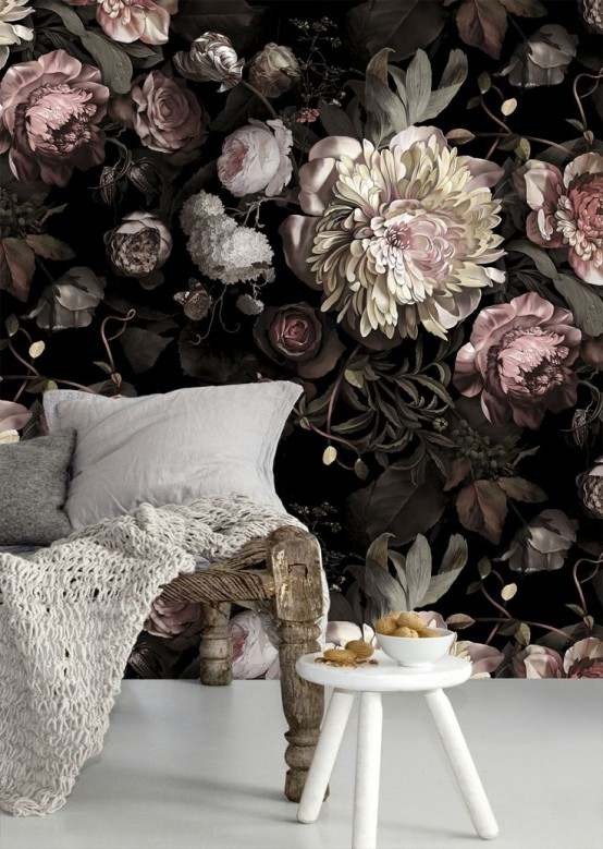 a chic and elegant space with a moody realistic flower wall mural that brings chic and romance to the space