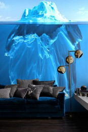 a gorgeous iceberg wall mural in bold blues will make a statement in your living room for sure
