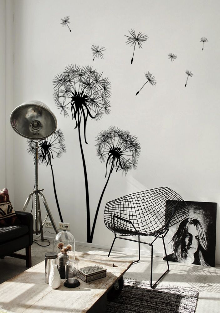 a monochromatic Scandinavian space refreshed with a botanical wall mural in black