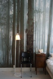 a moody woodland wall mural will give a relaxing feel to your bedroom as you'll feel like outdoors