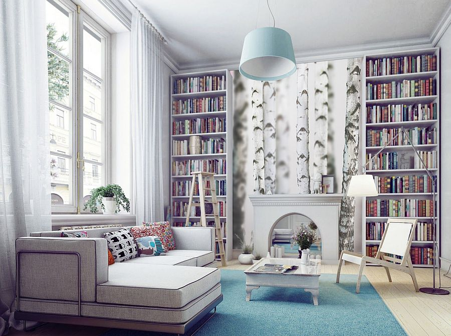 a white birch wall mural refreshes the space and makes the living room more outdoorsy and bold