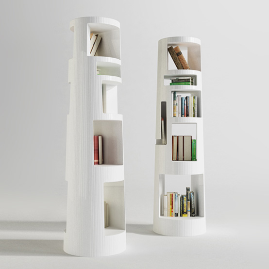 Five-Tier Conical Bookcase With Asymmetrical Compartments
