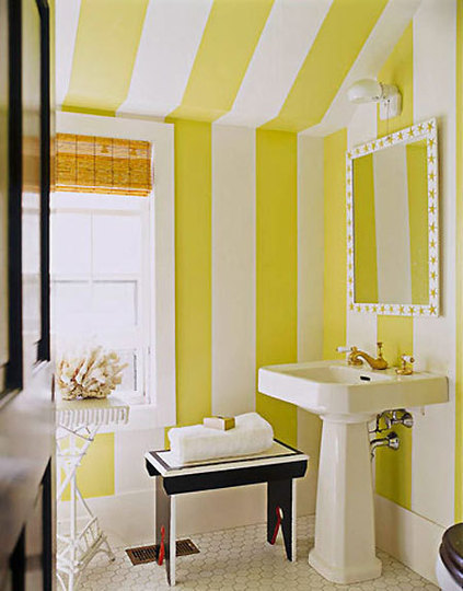 Bathroom Covered With Yellow Stripes